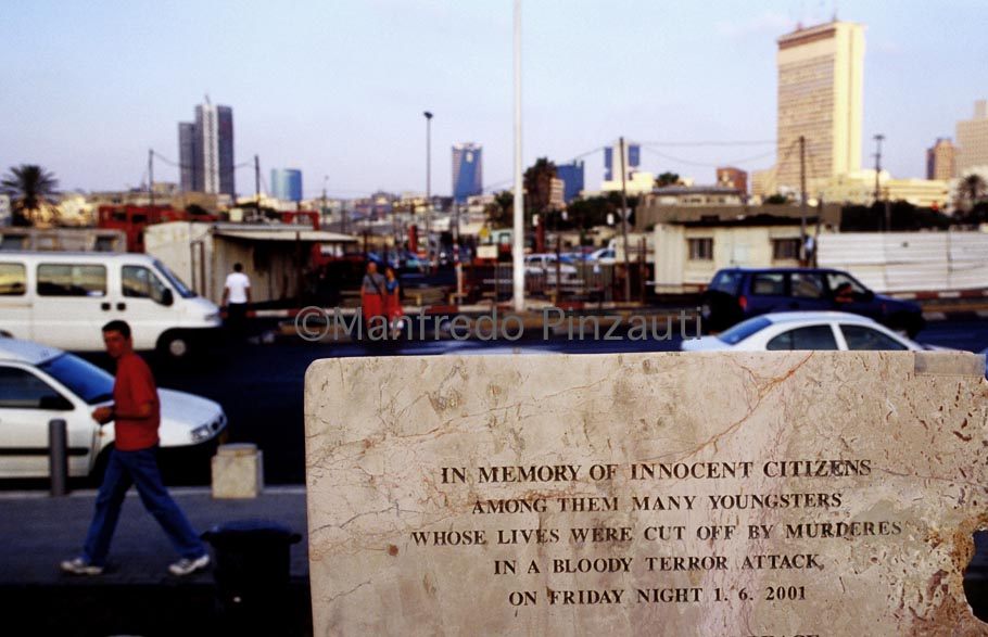 Tel Aviv . Tomb stone in memory of the innocent victims died in the terror attak of June 2001 in a Disco .